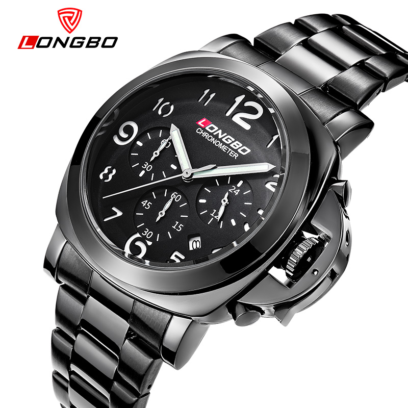 LONGBO Luxury Brand Leather Full Steel 6PIN Watches Auto Date Top Quartz Watch Male Business Watch