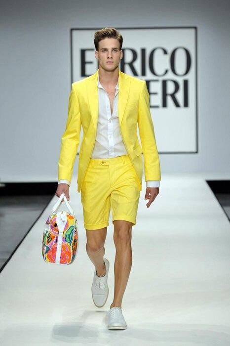 Sommer Stil Gelb Männer Anzüge Mit Kurzen Hosen 2 Stück (Jacke + Hose + Krawatte) hochzeit Prom Casual Stil Schlank Bräutigam Smoking Blazer-in Anzüge aus Herrenbekleidung bei  Gruppe 1
