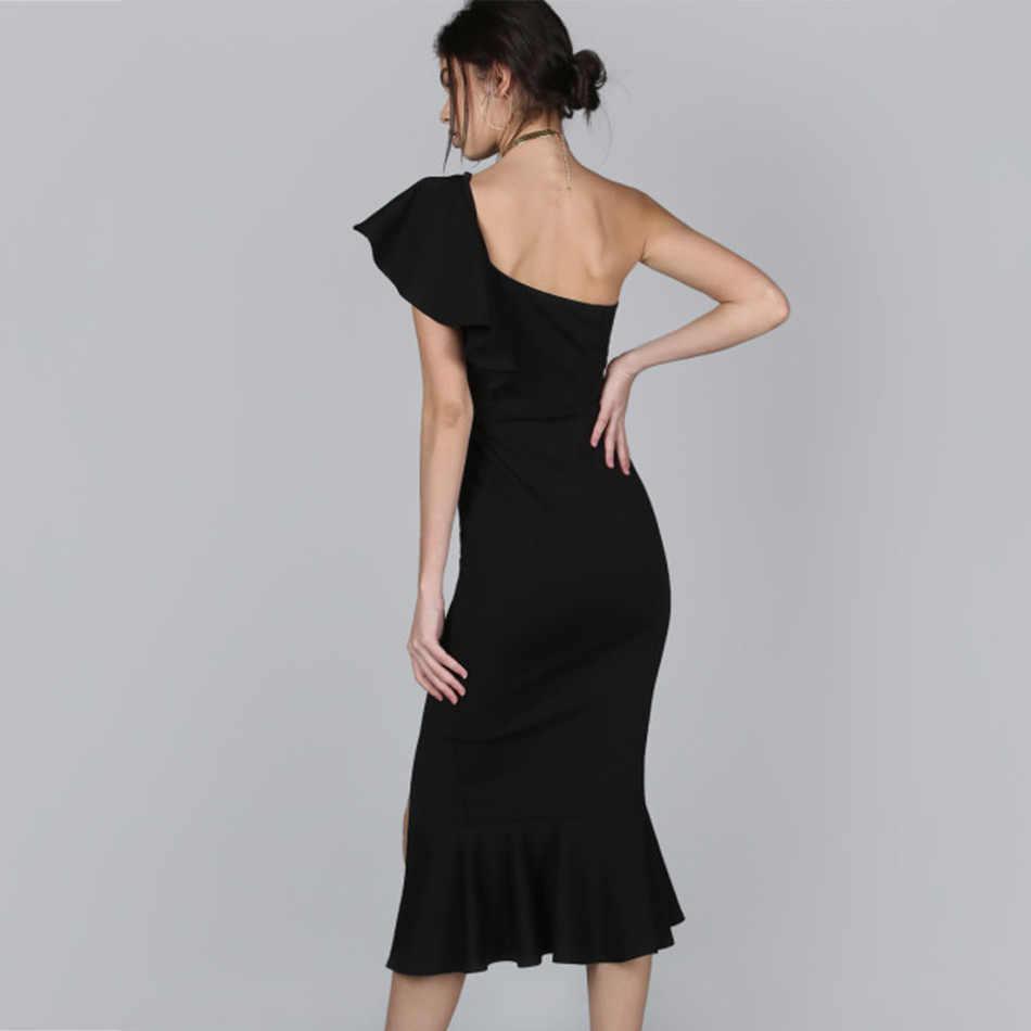 Seamyla новое летнее Бандажное платье женские черные красные оборки русалка Vestidos Клубное облегающее пикантное платье на одно плечо платья знаменитостей