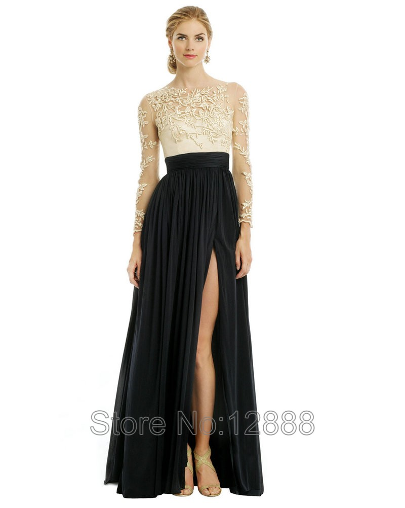 Black dress engagement photos -  Formal Evening Dress With Long Sleeves 2017 Engagement Dress Black And Gold Chiffon Embroidery Formal Evening