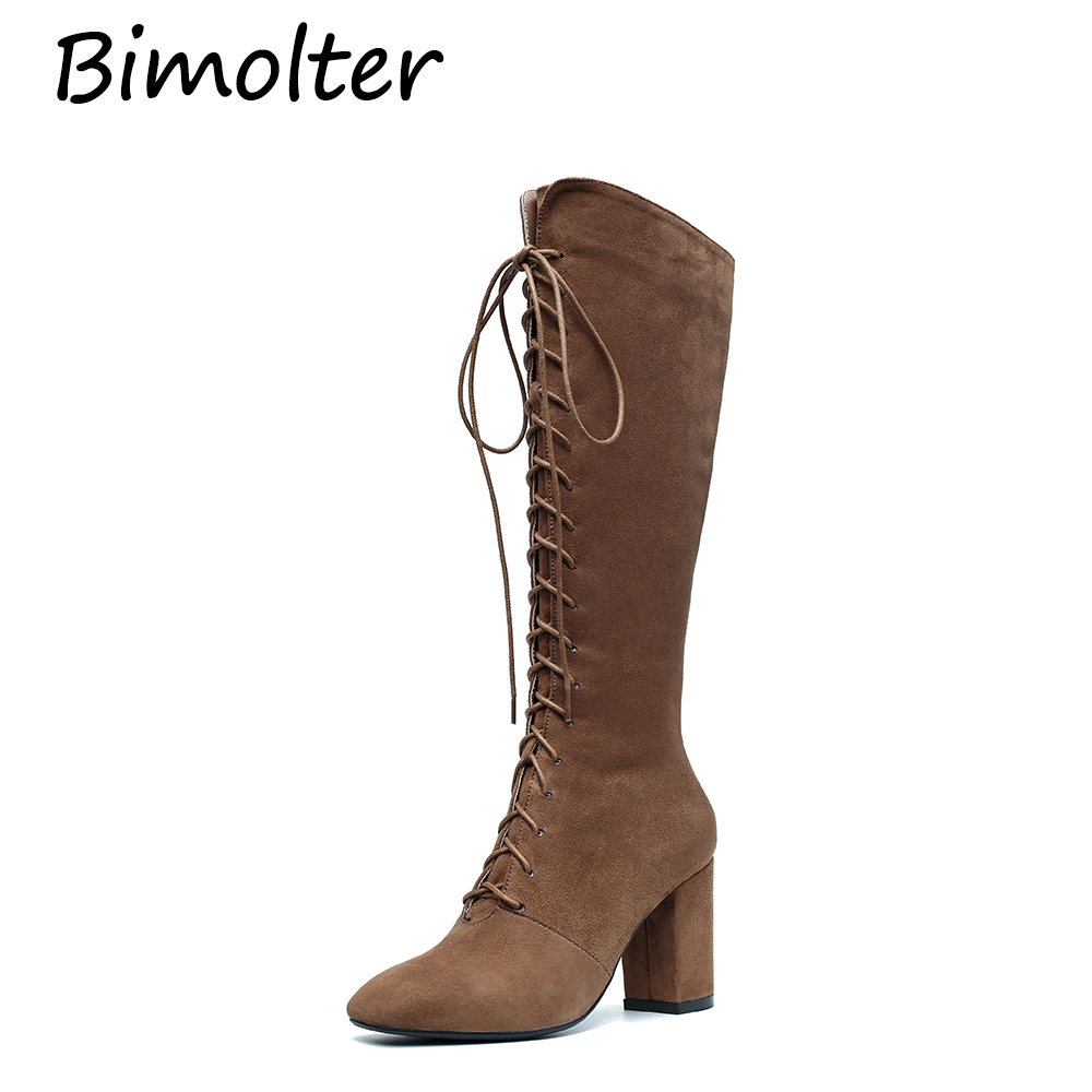 Bimolter Sexy Lace Up Knee-High Boots Women Winter Warm Sheep Suede High Heels Cross-tied Square Punk Shoes LAEB029