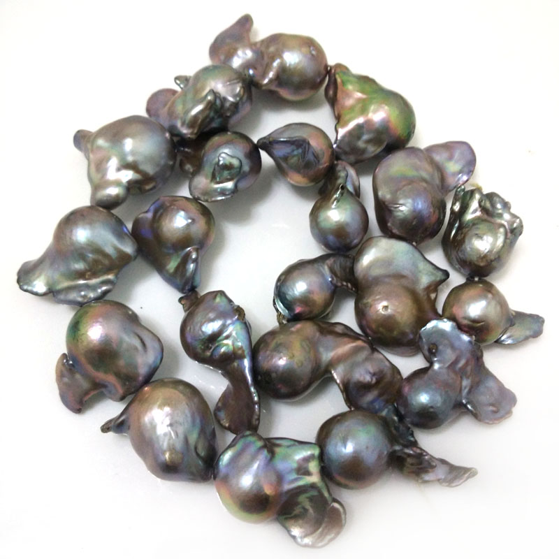16 inches 20-30mm AA+ Dark Gray Natural Baroque Pearl Loose Strand