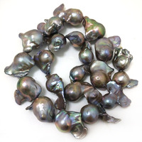 16 inches 20 30mm AA+ Dark Gray Natural Large Baroque Pearl Loose Strand