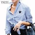 YNZZU 2016 новое прибытие Осенняя Мода женщины блузки полный рукав полосатой рубашке кнопку сердце Вышивка Femininas YT057