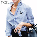 YNZZU 2016  new arrival  Autumn Fashion  women blouses full sleeve striped shirt button heart Embroidery Femininas YT057