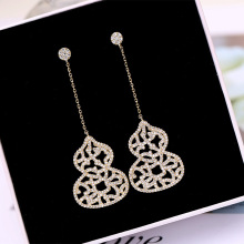 Ruifan Europe Big Gourd Shape Cubic Zircon Large Pendants Long Dangle Earrings Gold/White Gold Rhinestone Drop Earring YEA344