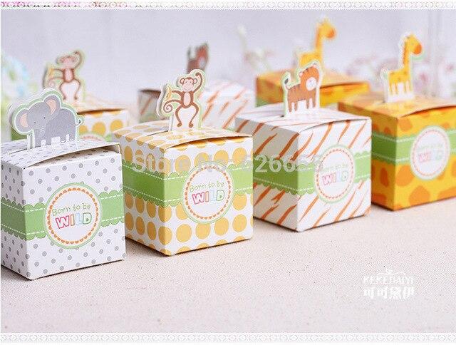 Free Shipping 50PCS Baby Shower Favors Box Safari Animal Wild Favor Box  Candy Box Souvenir Boy