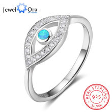 Solid 925 Sterling Silver Blue โอปอลหิน Cubic Zirconia Eye Finger แหวน(China)