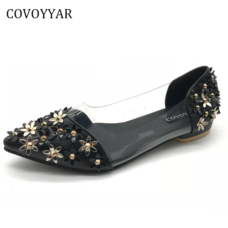 COVOYYAR 2018 Pointed Toe Women Flats Casual Shoes Metal Flower Low Heel Loafers Ladies' Ballet Flats Rivets Slip On  WFS322 2017 womens spring shoes casual flock pointed toe narrow band string bead ballet flats flat shoes cover heel women flats shoes