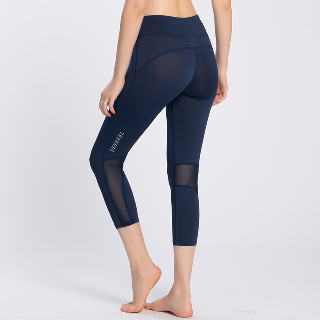 ee658c5c8ce2 Gym Sport Fitness Capri Workout Leggings Women Yoga Pants Mesh Splice High  Waisted Tights Compression mallas