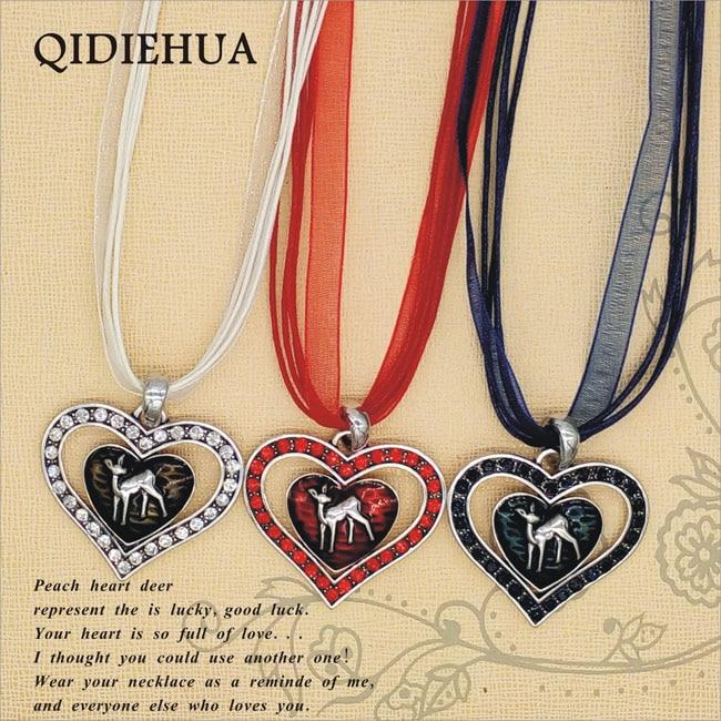 QIDIEHUA 2018 Simple Love Heart Deer Necklace Pendant Vintage Ribbon Rope Choker Necklace Women Oktoberfest Charm Enamel Pendant