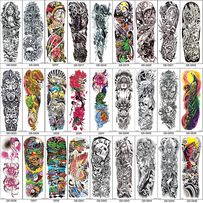 Us 26 Pełne Ramię Tymczasowe Rękawy Tatuaże Paw Piwonia Smok Czaszka Wzory Wodoodporna Fajne Mężczyźni Kobiety Tatuaże Naklejki Body Art Farby W