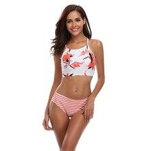 купить New Sexy Floral Print Bikini Women Swimsuit Cross Back Bandage Swimwear S-XL Girl Backless Halter Bathing Suit High Waist Bikini по цене 856.63 рублей