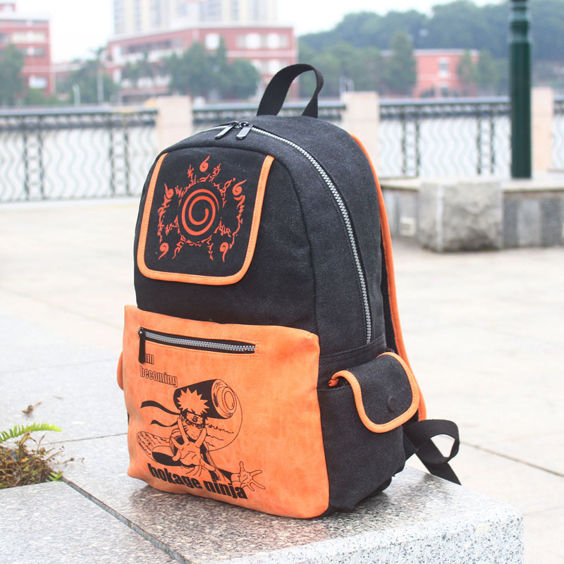Anime font b Naruto b font font b Cosplay b font Student backpack nine tail seal