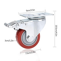 3 inch PVC Heavy Duty Swivel Caster Wheels 360 Degree Top Plate with Brake Pack of 4 (880Lbs) (red)