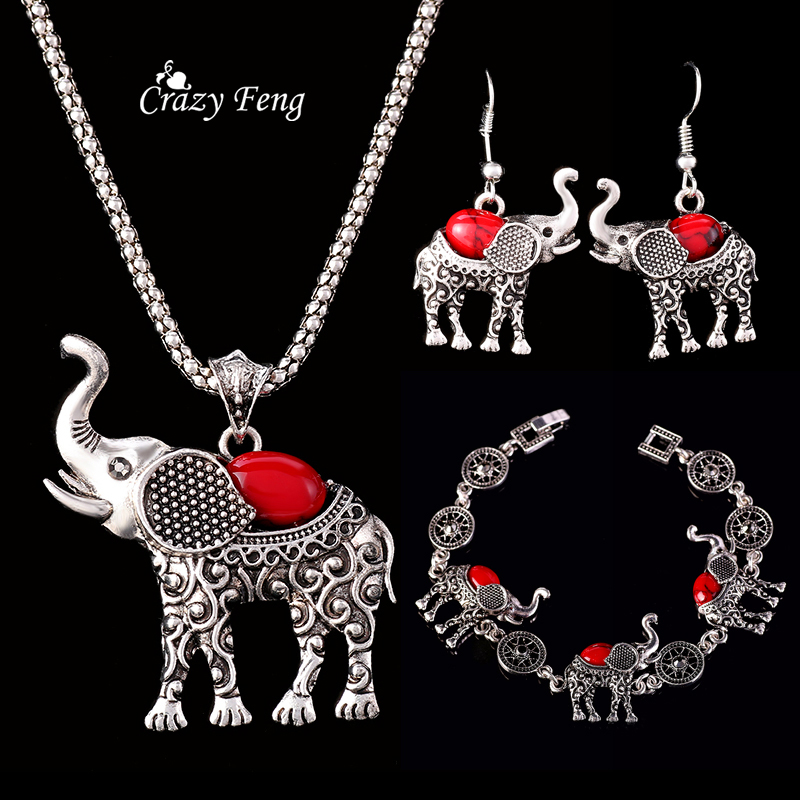HTB16FEuQpXXXXX apXXq6xXFXXXr - Fashion Green African Jewelry Sets for Women Vintage Silver Color Elephant Pendant Necklace Earrings Bracelets Jewellery Gift