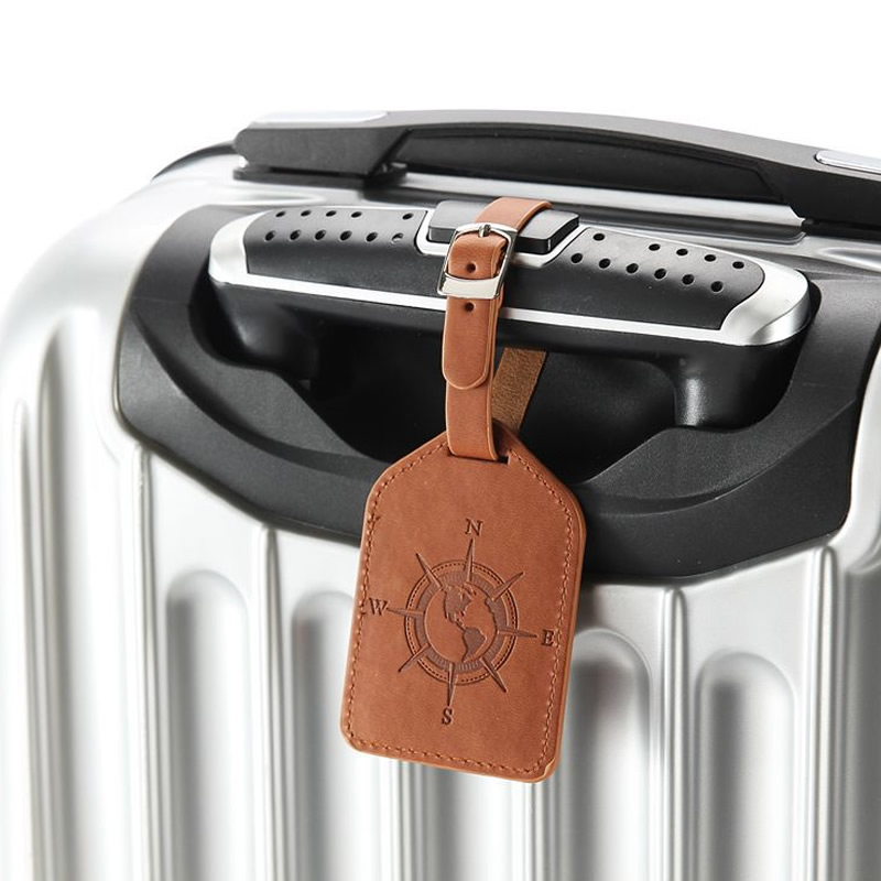 Fashion Compass PU Leather Luggage Tag Women Portable Label Suitcase ID Address Holder Baggage Boarding Travel Accessories