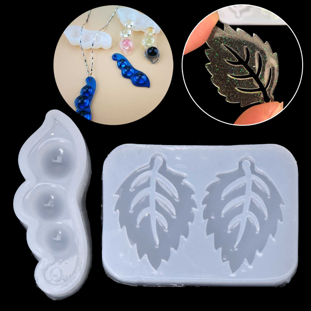 Leaves Bean Peas Liquid Silicone Mold Resin Jewelry Making Pendant DIY Craft