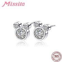 MISSITA 100% 925 Sterling Silver Cute Mickey Earrings with CZ For Women Jewelry Brand Girlfriend Party Gift Hot Sale