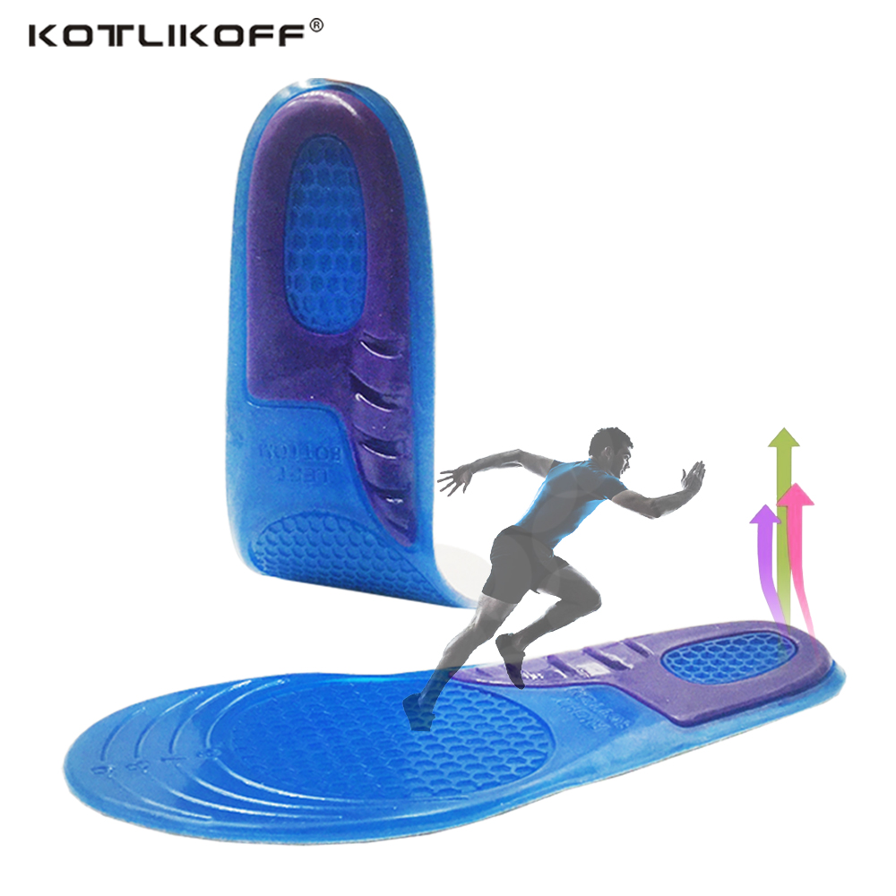 KOTLIKOFF Silicone Gel Insoles Orthotic Arch Support Massaging Anti-Slip Gel Soft Sport Shoe inserts Insole Pad For Man Women 2017 plus size gel insoles soft