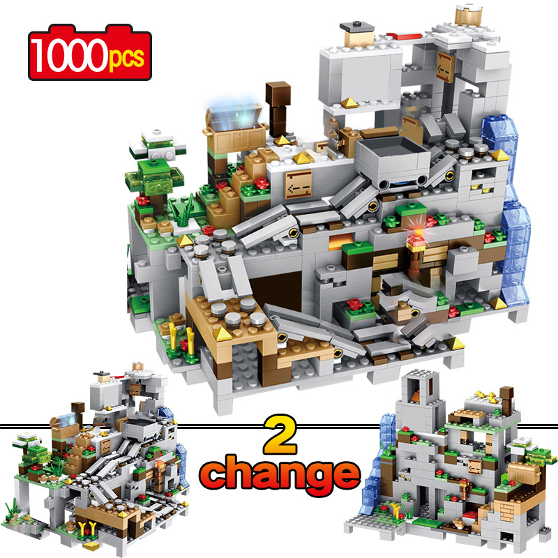 <font><b>1000pcs</b></font> Building Blocks The Mountain Cave With Elevator waterfall figures Bricks Education Toys For Children kids gifts image