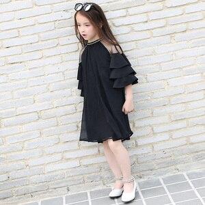 Image 4 - Шифоновые платья для девочек, черная детская одежда для подростков, милое платье с оборками на рукавах для крупных девушек, лето 2019
