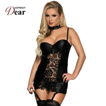 Comeondear Erotica Corset Lingerie Sexy 2017 Baby Doll Sexy Lingerie RB80385 Hot Sale Halter Leather Sexy Black Collared Chemise
