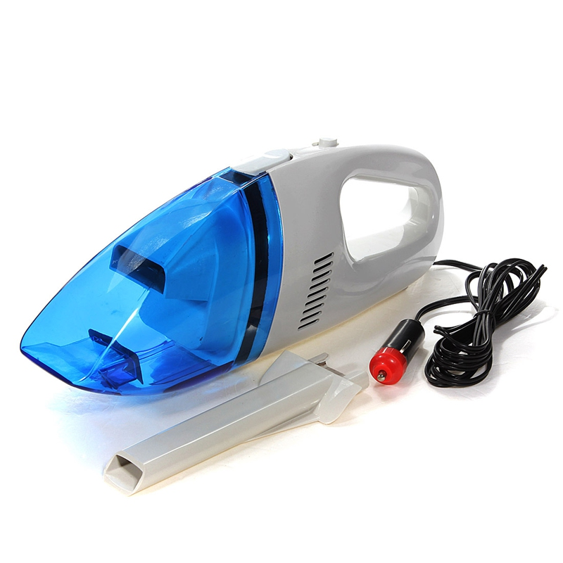 120W Portable Car Vacuum Cleaner Wet And Dry Dual Use Auto Cigarette Lighter Hepa Filter 12V White Clear Blue
