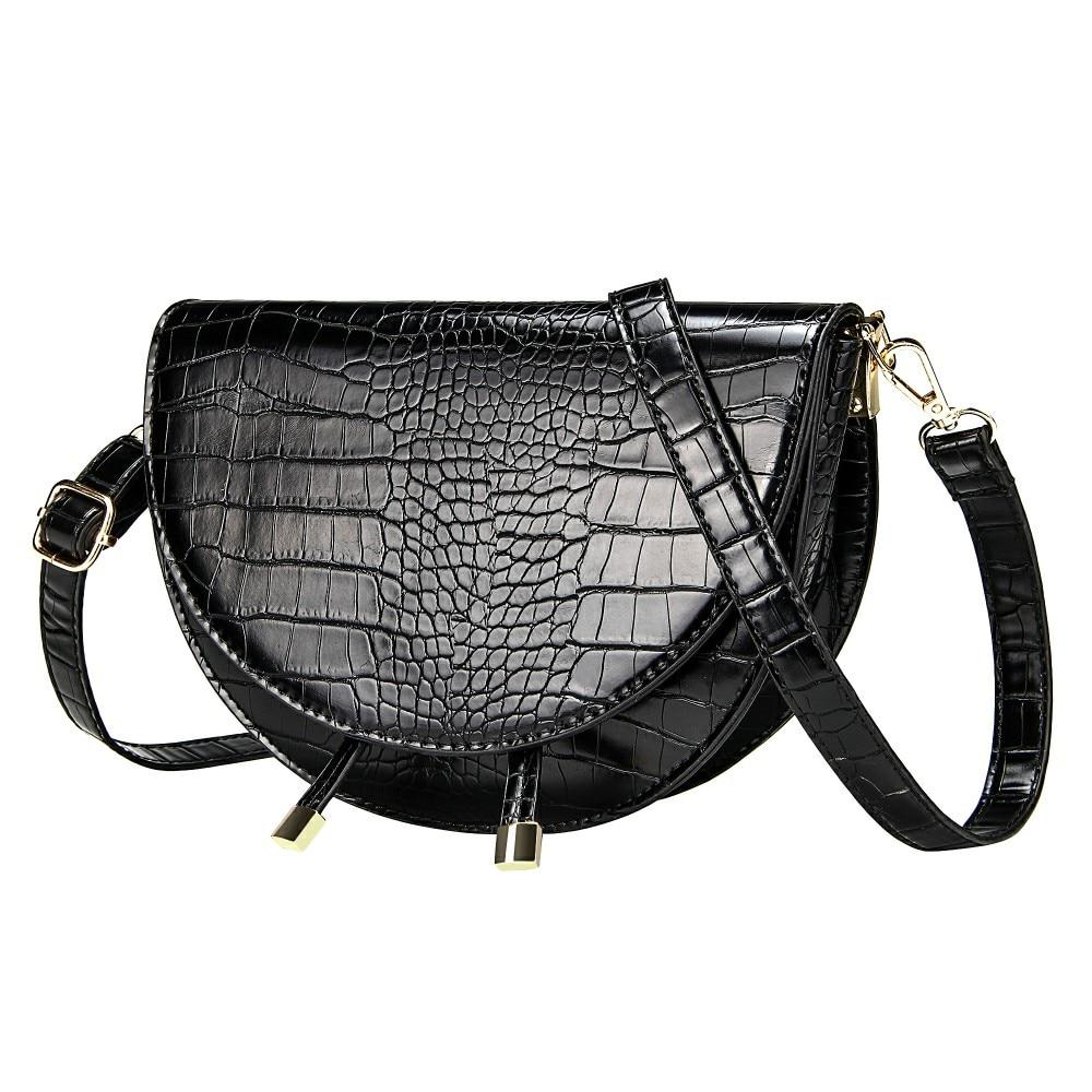 Crocodile Pattern Crossbody Bags for Women Half Round Messenger Bag Pu Leather Luxury Handbags Women Bags Designer Shoulder Bag(China)
