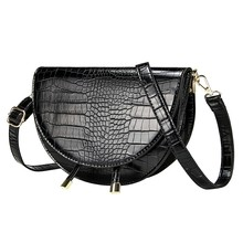 Crocodile Pattern Crossbody Bags for Women Half Round Messenger Bag Pu