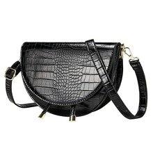 Crocodile Pattern Crossbody Bags for Women Half Round Messen