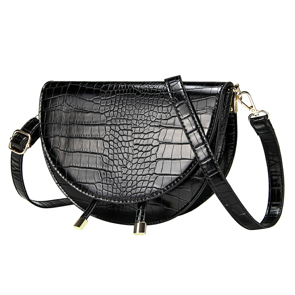 Elegant Crocodile Pattern Crossbody Bags For Women Half Round Solid Pu Leather Luxury Handbags Women Bags Designer Shoulder Bag