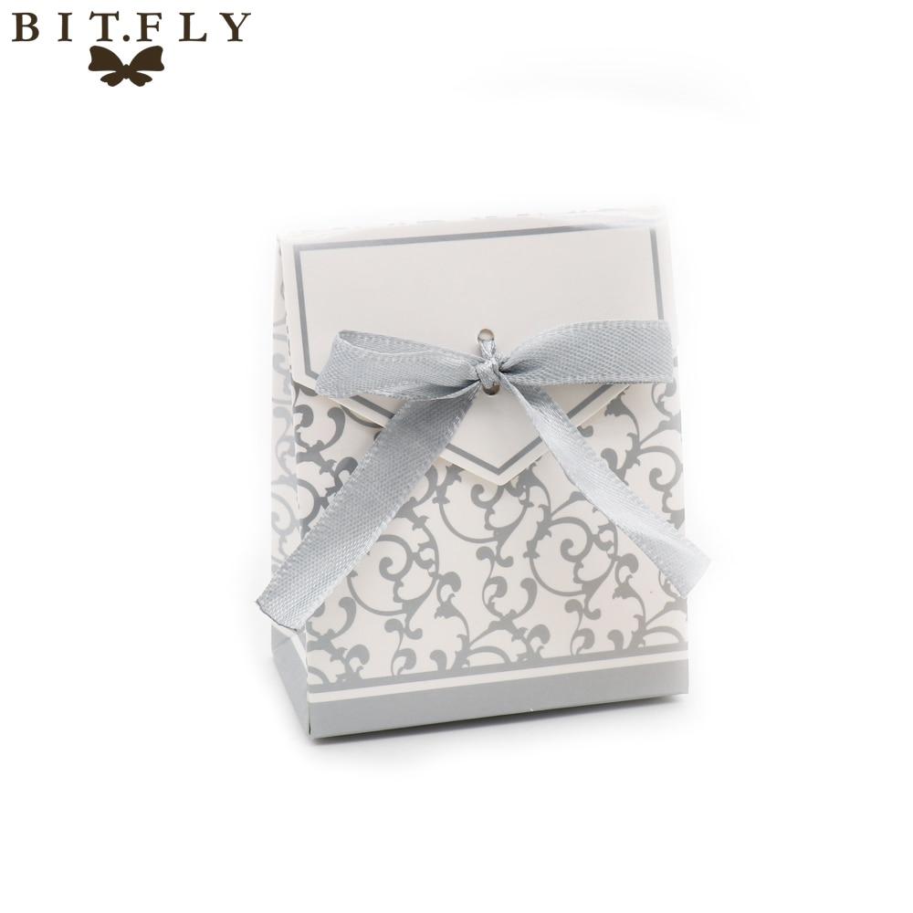 50pcs flower Chocolates Cookie Candy Box Wedding Decor DIY Gift Bag ...