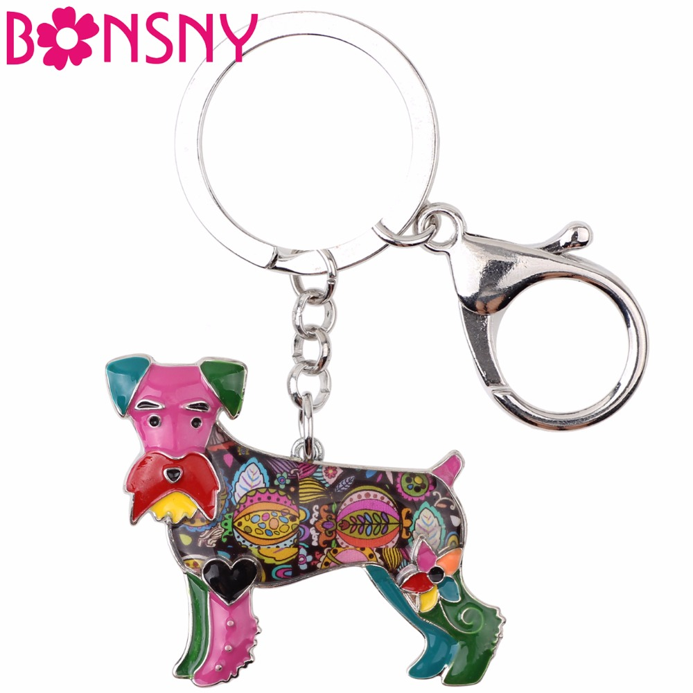 Bonsny Enamel Schnauzer Dog Terrier Key Chain Key Ring Jewelry For Women Bag Charm Car Key Holder Pendant 2017 News Keychain