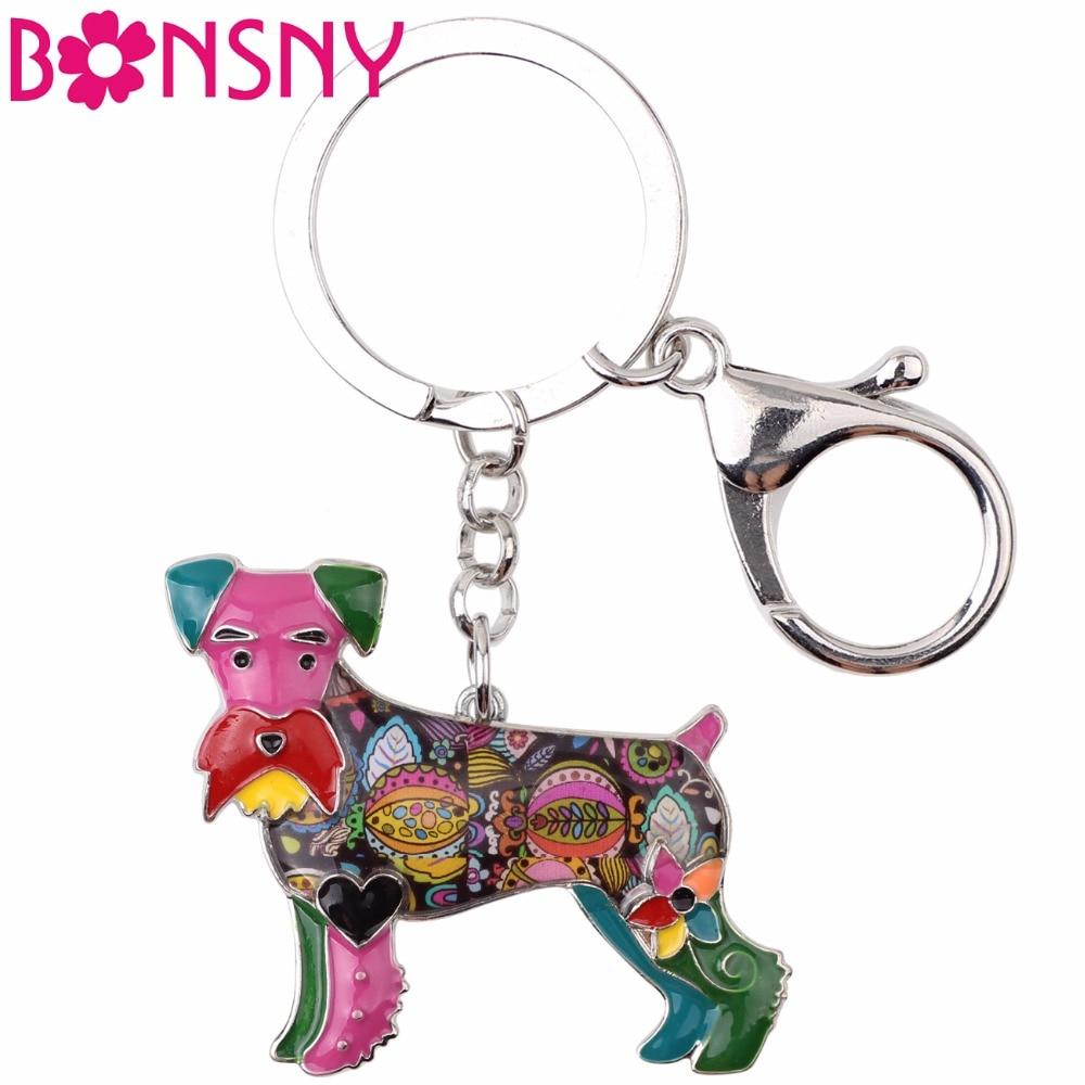 Bonsny Enamel Schnauzer Dog Terrier Key Chain Key Ring Jewelry For Women Bag Charm Car Key Holder Pendant 2017 News Keychain lx 4846 universal key ignition ring decorative sticker for car silver