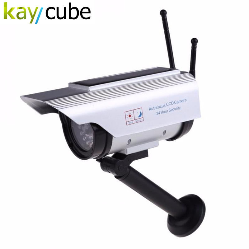 Fake Solar Powered Security CCD CCTV Camera Red Blinking LED With 2 Antenna Looks Like Real Monitor Outdoor Dummy solar dummy security camera with blinking light silver