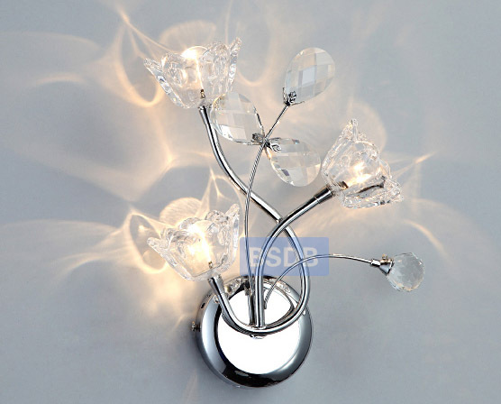 Free Shipping Corridor Petal Crystal 3 Light Wall light Modern Plated Chrome Bedroom Hallway mirror Front Washroom wall light диски helo he844 chrome plated r20