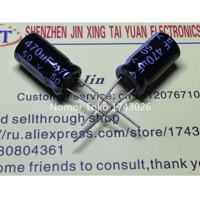 High quality 20 pcs/lot 50V 470UF 10X20mm 470UF 50V Aluminum electrolytic capacitor ic ...