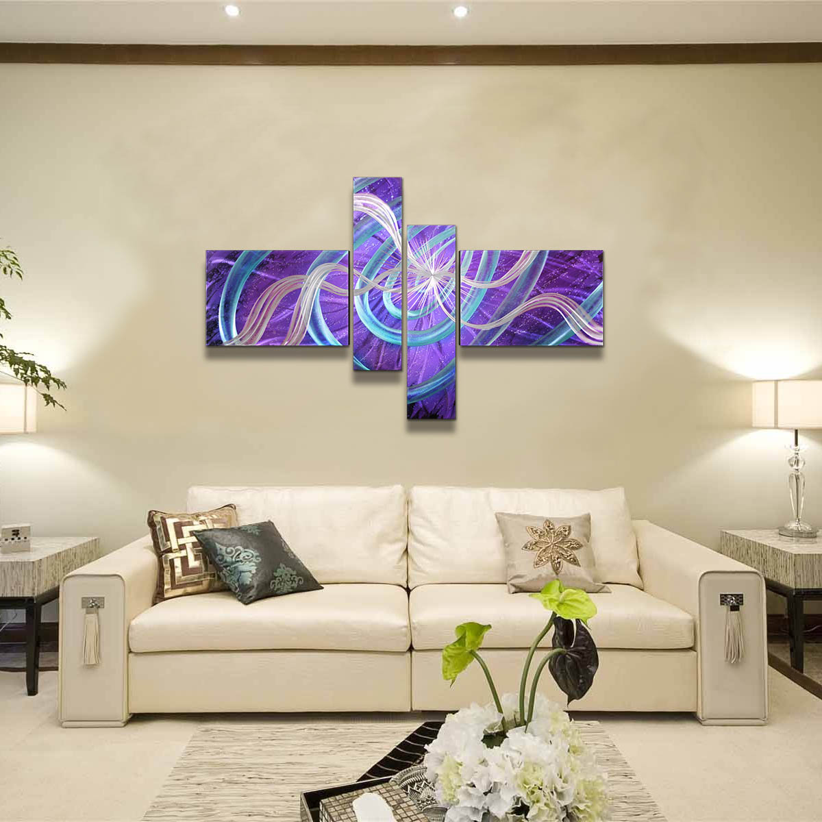 Exquisite 4 panel Aluminum Wall Art Wall Sculptures Stars Abstract Etched Pattern Hanging Wall Decoration for Home Living Room