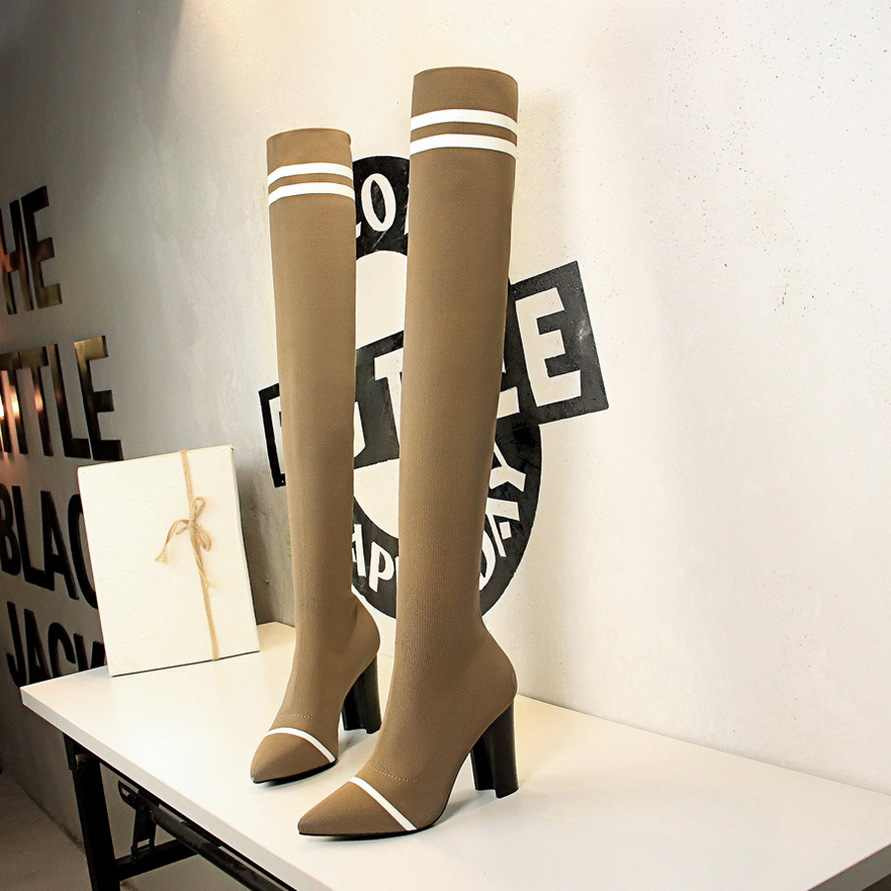 Rayure cuisse haute chaussette bottes femmes épais talons hauts sur le genou bottes extensibles femme mince tricot long botas mujer 2019 y792