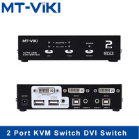 Mt Viki 2 Port DVI Switch KVM Switch with Audio Auto Hotkey Switcher USB Mouse and Keyboard PC Host Selector MT 2102DL