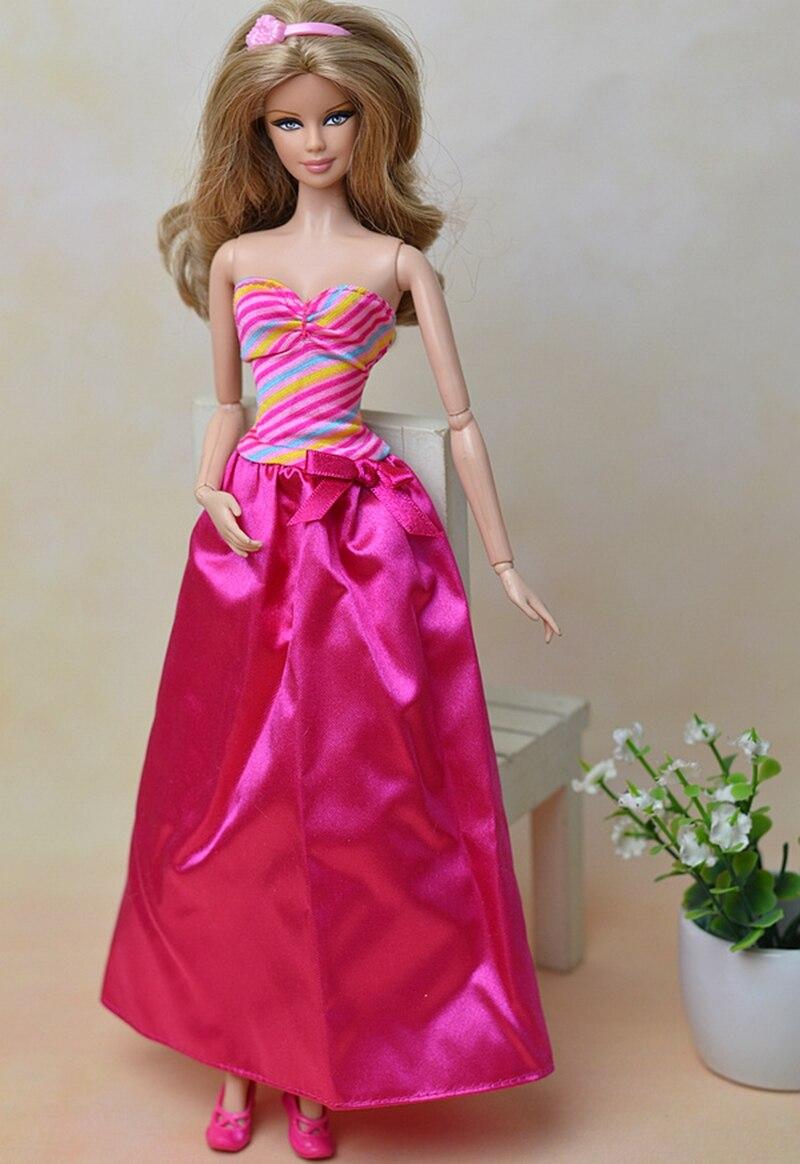 ピンクファッション人形服レインボーロングイブニングドレス用バービー人形vestidosパーティードレス用1