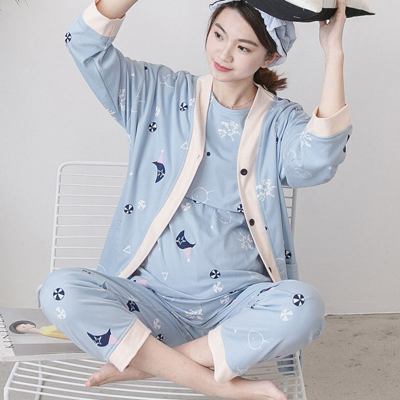 2018 Fashion Sleeve Nursing Clothes Summer Nursing Pajamas Pregnant Pyjama Breastfeeding Pregnancy Nightgrown Three-piece A031 cami satin two piece summer pajamas