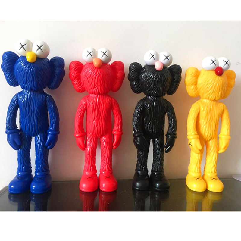 1pc/lot KAWS BFF Tide Doll OriginalFake Brian Street Art PVC 4 Colors Red Action Figures Collectible Model Toys Opp Package 33cm 12 inch kaws bff pink rabbit fashion doll originalfake brian street art pvc action figure collectible model toy retail box s168
