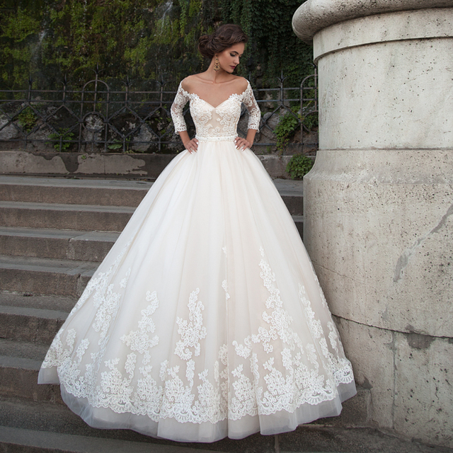 Robe De Mariage 2017 Vintage Lace Long Sleeve Ball Gown Wedding ...