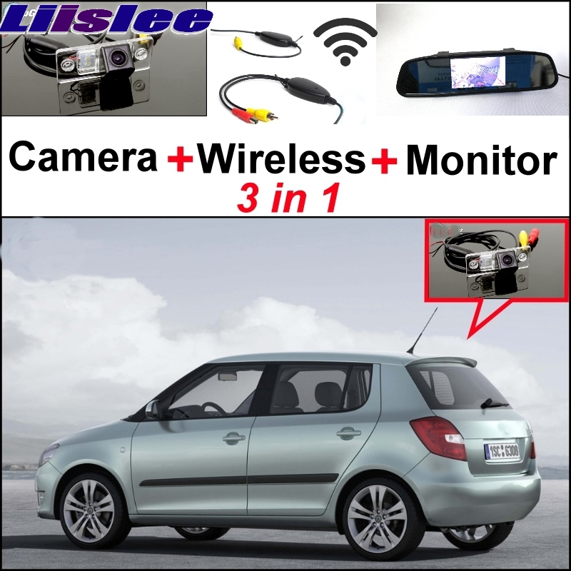 Liislee Special Rear View Wifi Camera + Wireless Receiver + Mirror Monitor Easy Back Up Parking System For Skoda Fabia 5J MK2 liislee 3 in1 special rear view camera wireless receiver mirror monitor diy back up parking system for peugeot 607 806 807