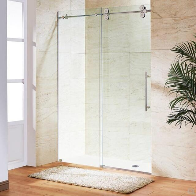 66ft Chromed Polished Stainless Steel Sliding Barn Shower Door Twin