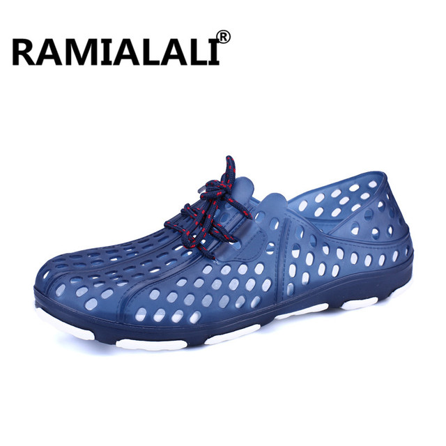 3c90af9485634e Ramialali Summer Men s Eva Hole Slippers Sandals Mules Clogs Garden Shoes  For Men Breathable Beach Shoes Outdoor Aqua Shoes