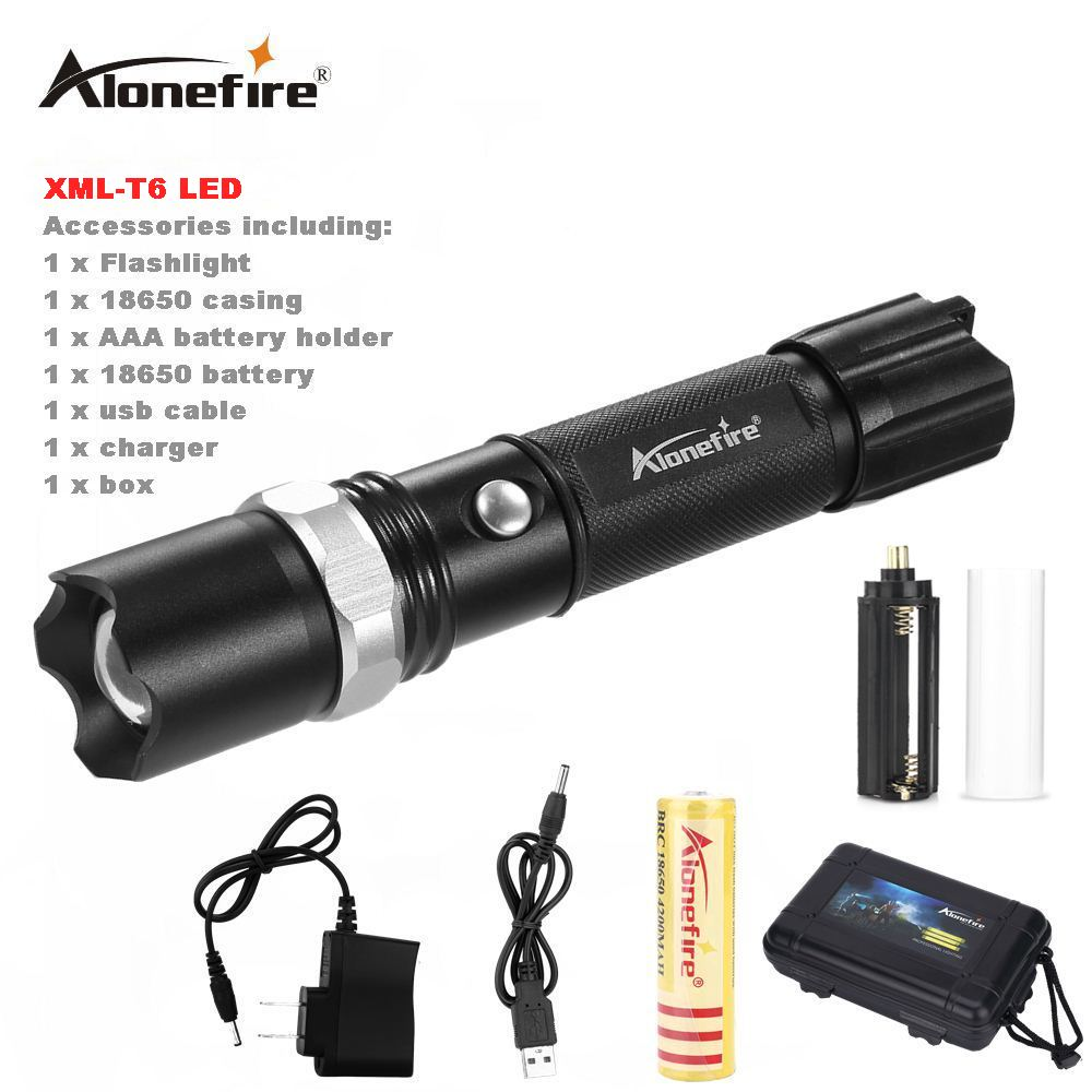 AloneFire TK107 CREE XML-T6 tactical cree led Torch Zoom LED Flashlight Torch light For AAA or 18650 rechargeable T6 flashlight фонарик oem xml t6 cree 2000lm lanttern 201451602