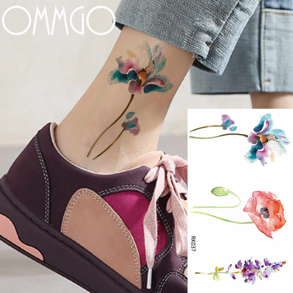 OMMGO Sexy Watercolor SweetPeas Flower Temporary Tattoos Sticker Fake Tatoos Floral Body Art Arm Leg 3D Tattoo Leaf Lavender DIY